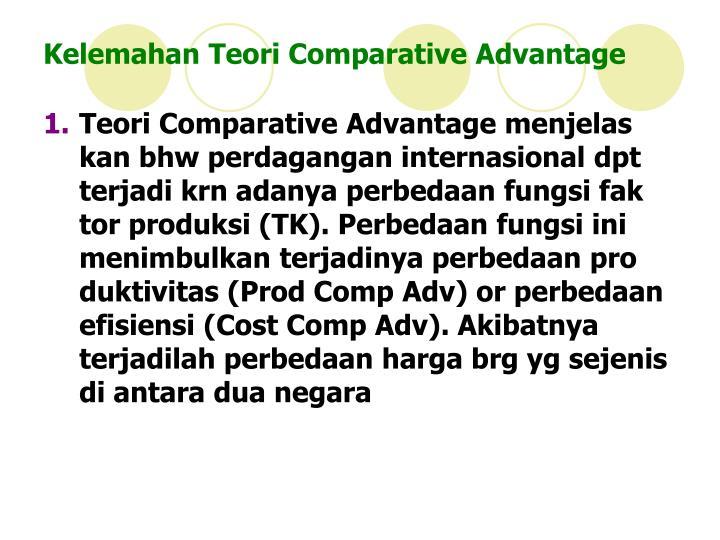 Kelemahan Teori Comparative Advantage
