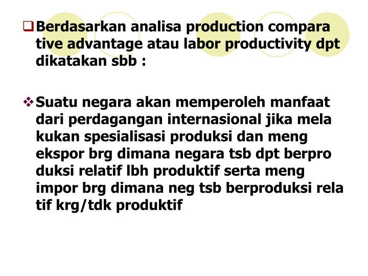 Berdasarkan analisa production compara tive advantage atau labor productivity dpt dikatakan sbb :