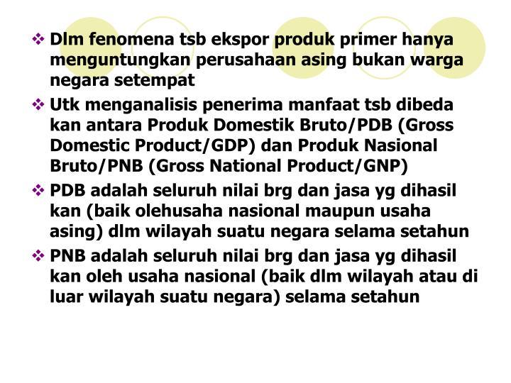 Dlm fenomena tsb ekspor produk primer hanya menguntungkan perusahaan asing bukan warga negara setempat
