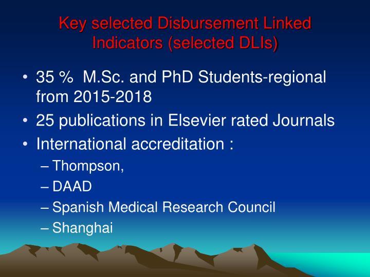 Key selected Disbursement Linked Indicators (selected DLIs)