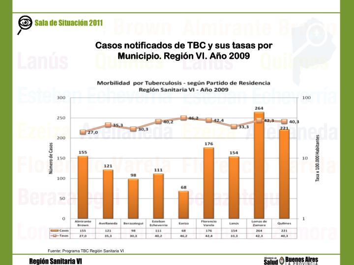 Casos notificados de TBC y sus tasas por Municipio. Región VI. Año 2009