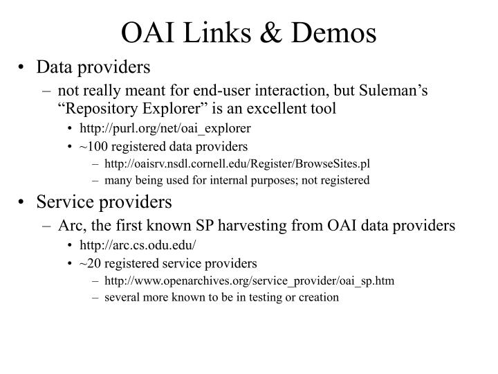 OAI Links & Demos