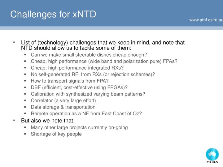 Challenges for xNTD