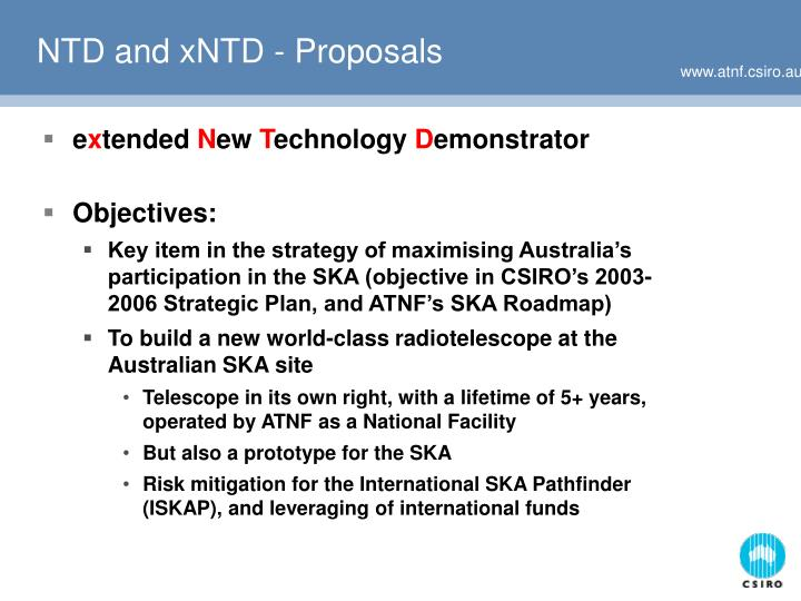 NTD and xNTD - Proposals