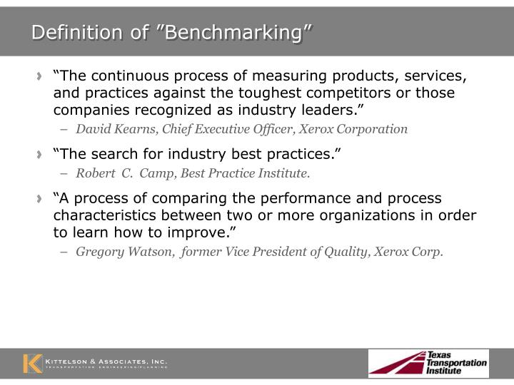 "Definition of ""Benchmarking"""