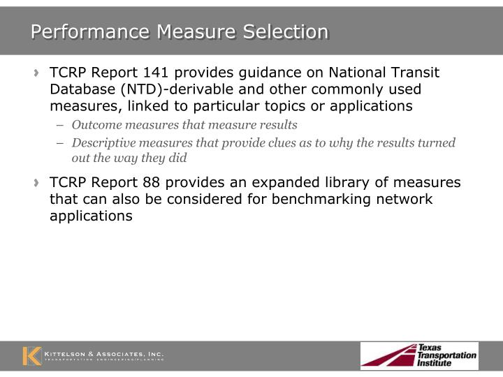Performance Measure Selection