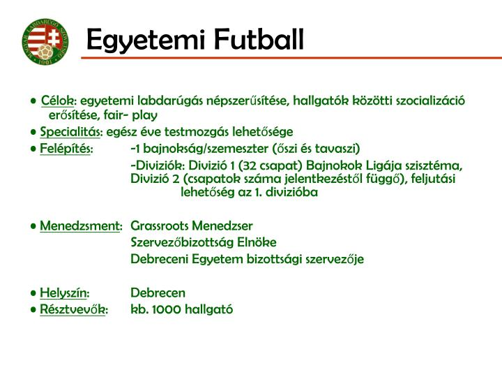 Egyetemi Futball