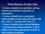 what business faculty said