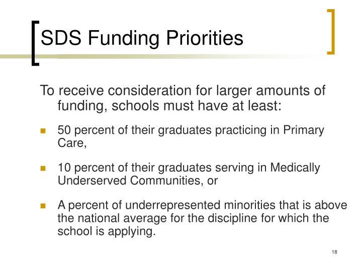 SDS Funding Priorities