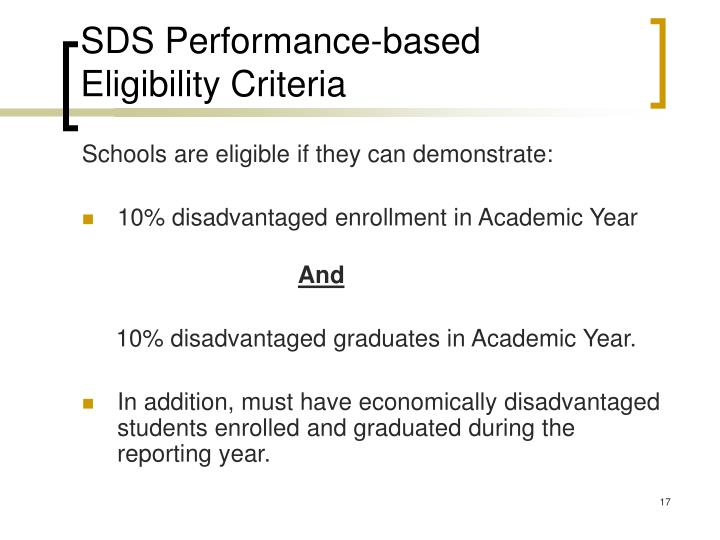 SDS Performance-based Eligibility Criteria