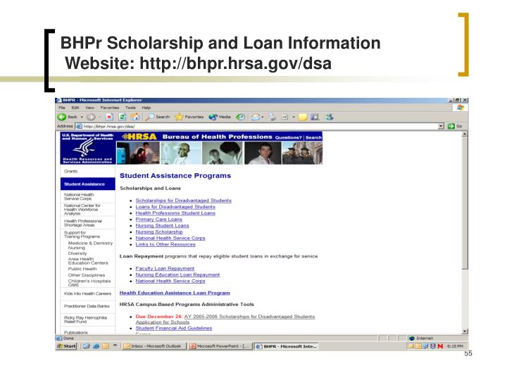 BHPr Scholarship and Loan Information