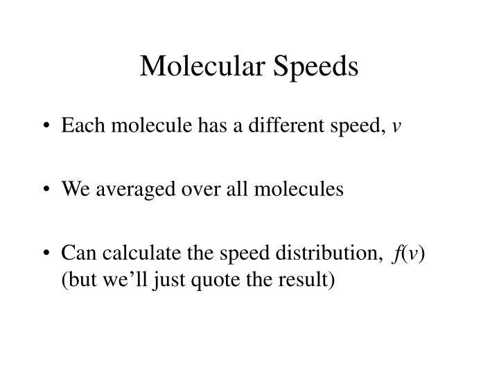 Molecular Speeds