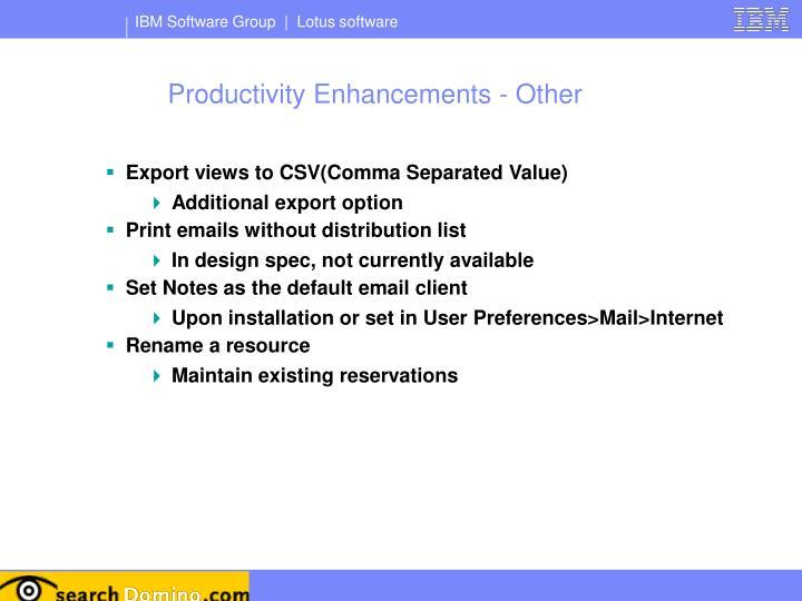 Productivity Enhancements - Other
