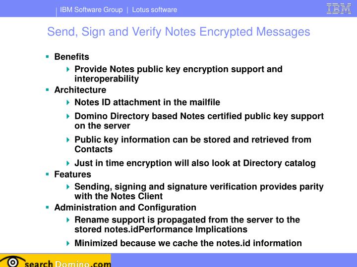 Send, Sign and Verify Notes Encrypted Messages