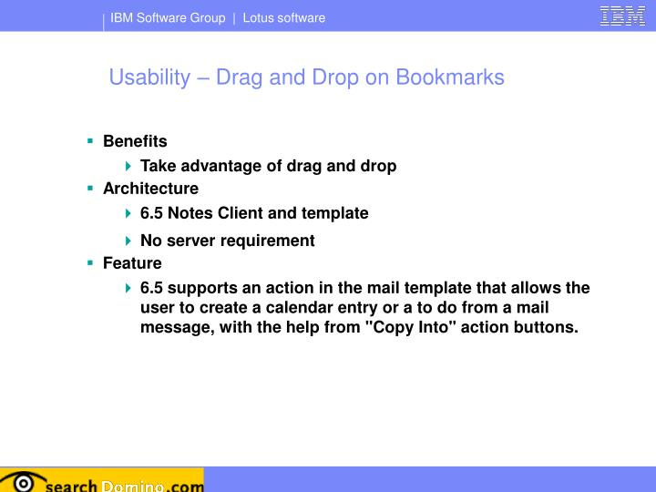 Usability – Drag and Drop on Bookmarks