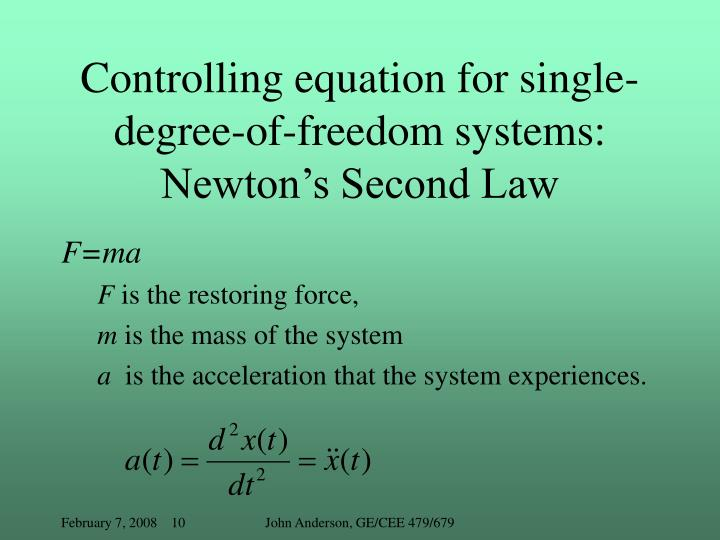 Controlling equation for single-degree-of-freedom systems: