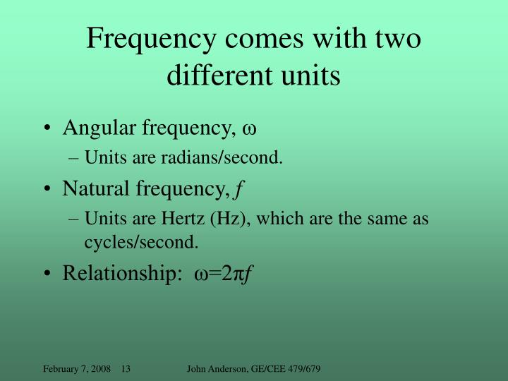 Frequency comes with two different units