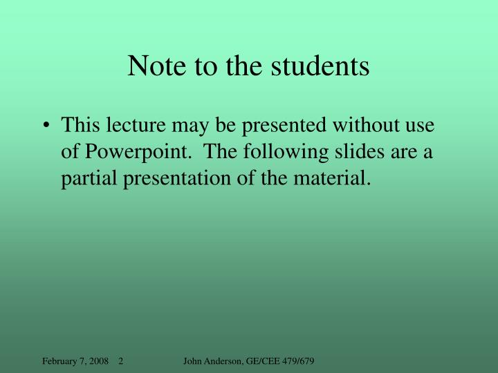 Note to the students