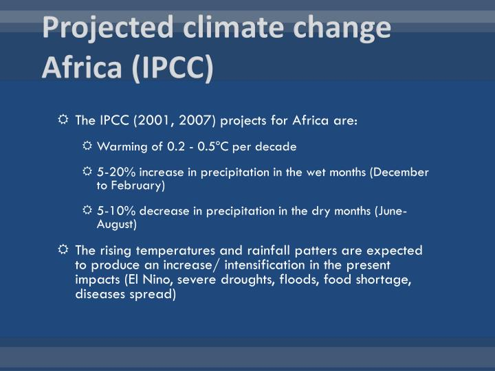 Projected climate change Africa (IPCC)