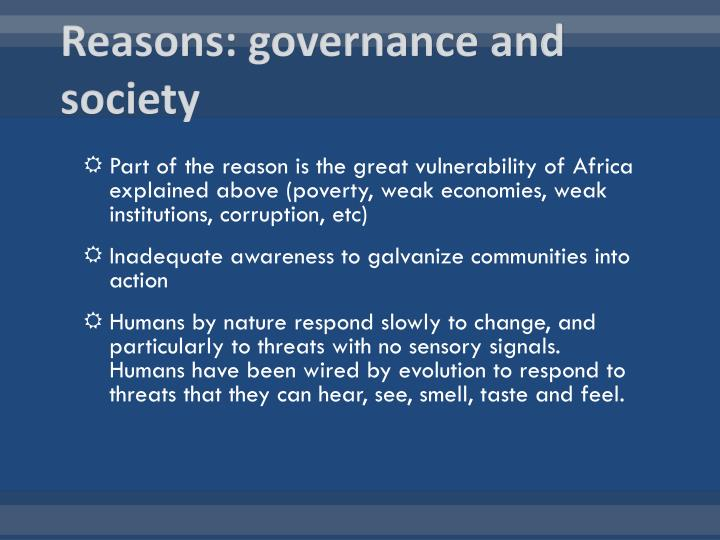 Reasons: governance and society