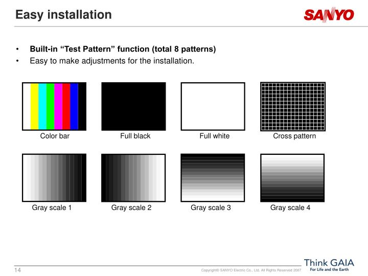 """Built-in """"Test Pattern"""" function (total 8 patterns)"""