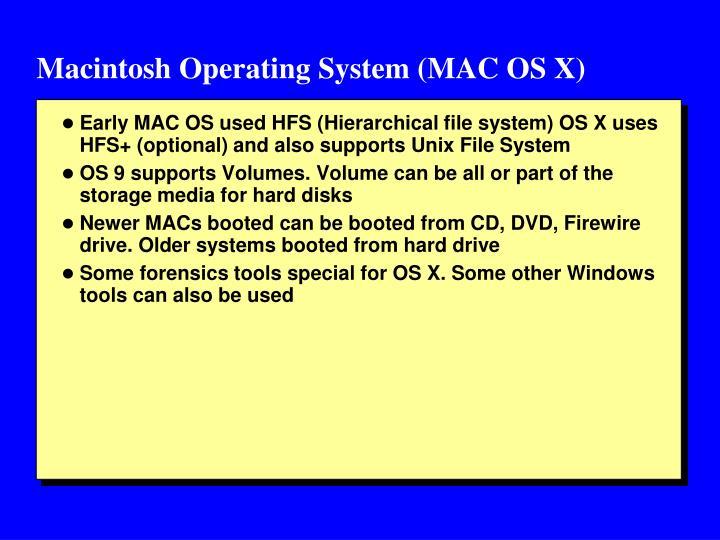 Macintosh Operating System (MAC OS X)