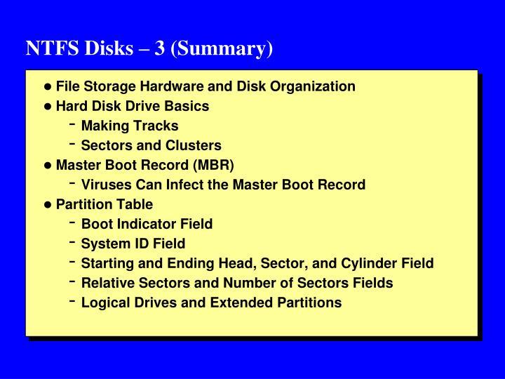 NTFS Disks – 3 (Summary)