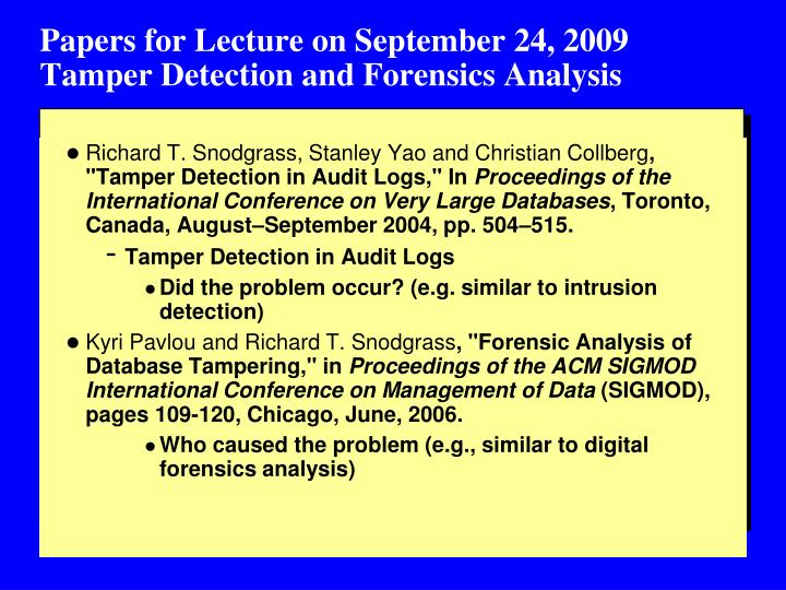 Papers for Lecture on September 24, 2009