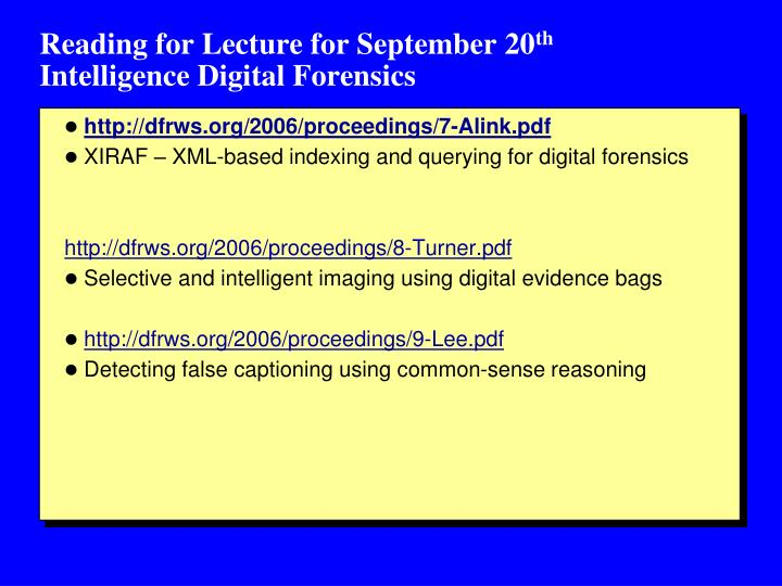 Reading for Lecture for September 20