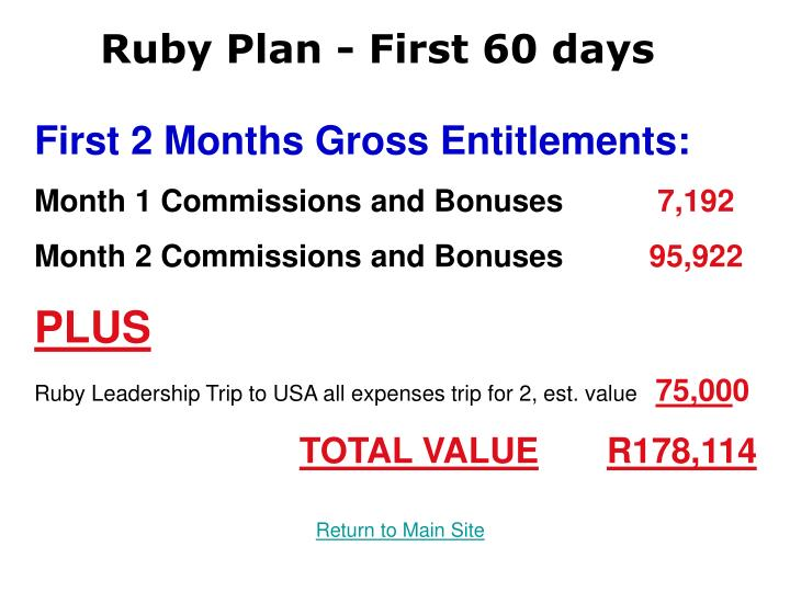 Ruby Plan - First 60 days
