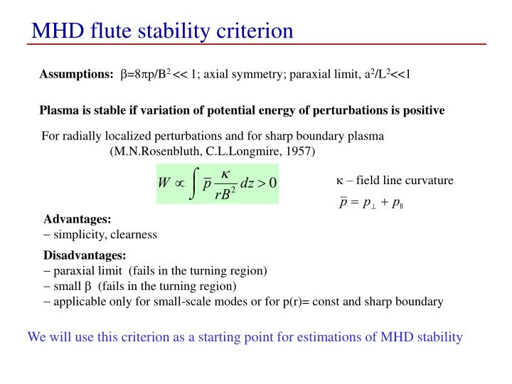 MHD flute stability criterion