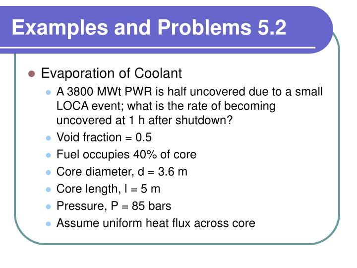 Examples and Problems 5.2