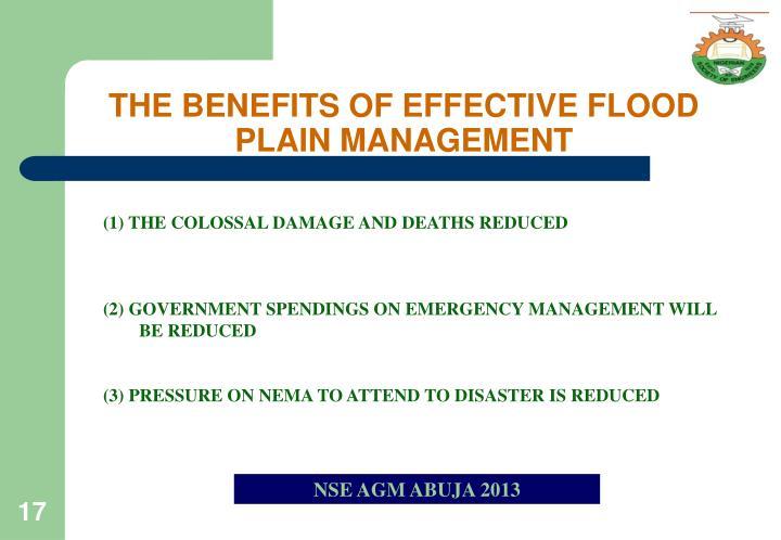 THE BENEFITS OF EFFECTIVE FLOOD PLAIN MANAGEMENT