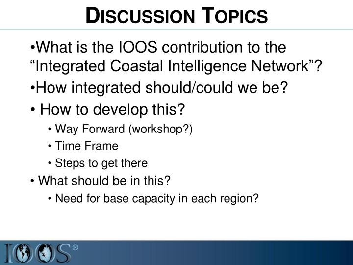 """What is the IOOS contribution to the """"Integrated Coastal Intelligence Network""""?"""