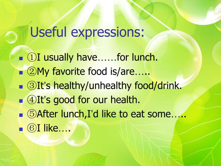 Useful expressions:
