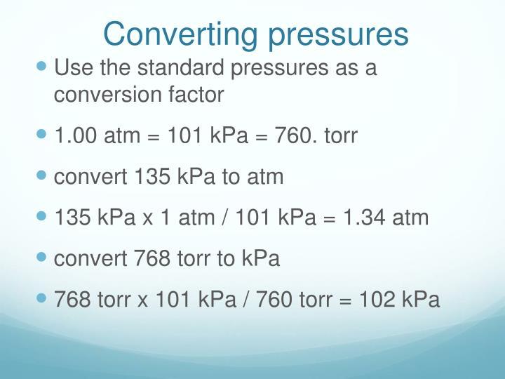 Converting pressures