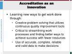 accreditation as an innovation
