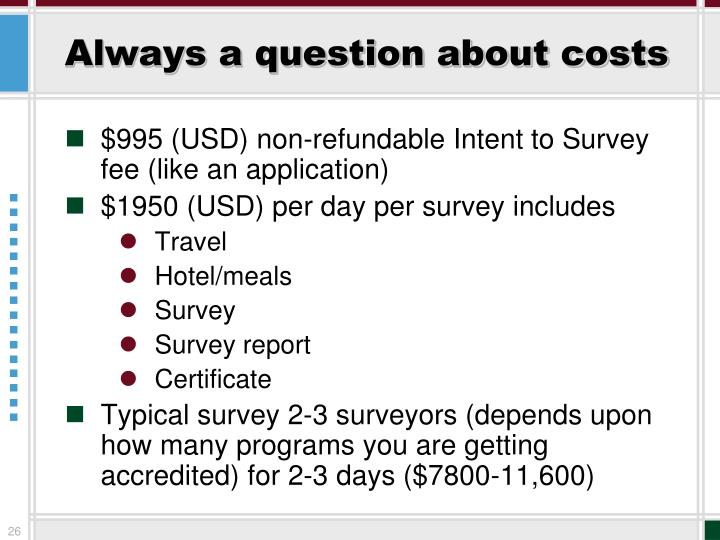 Always a question about costs
