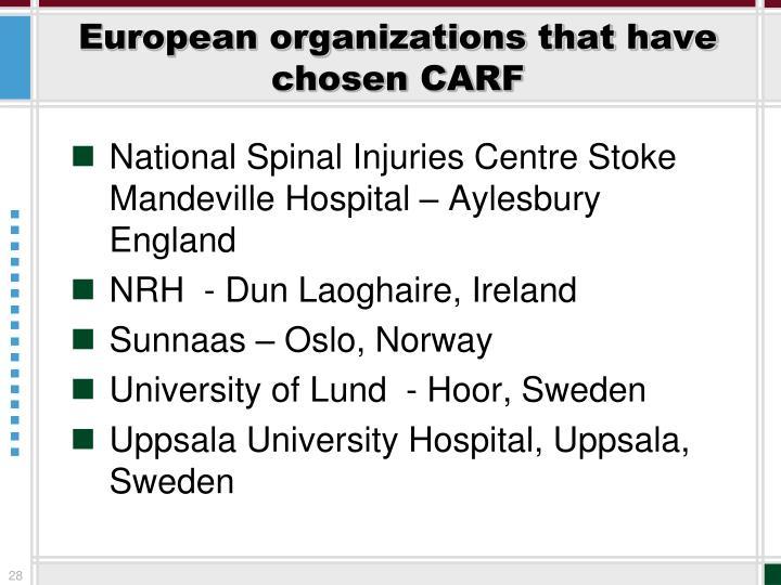 European organizations that have chosen CARF