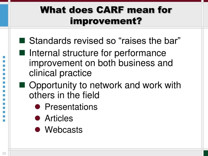 What does CARF mean for improvement?