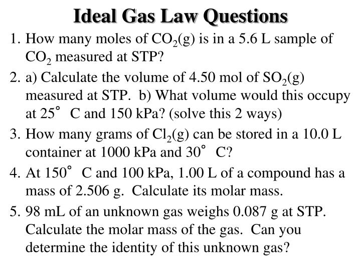 Ideal Gas Law Questions