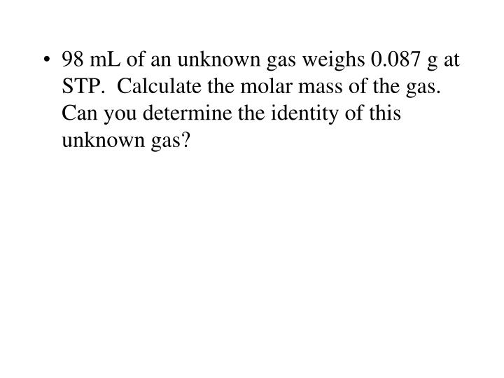 98 mL of an unknown gas weighs 0.087 g at STP.  Calculate the molar mass of the gas.  Can you determine the identity of this unknown gas?