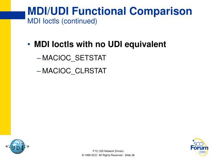 MDI/UDI Functional Comparison