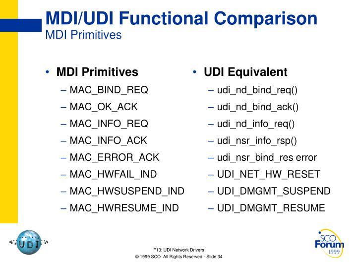 MDI Primitives