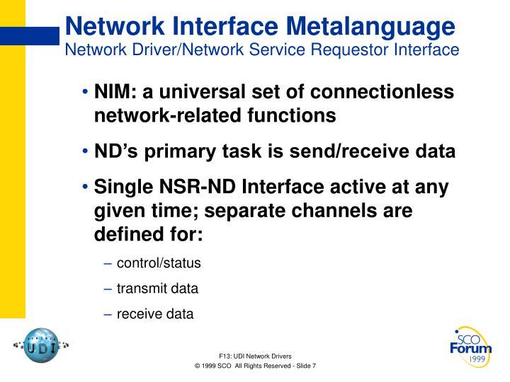 Network Interface Metalanguage