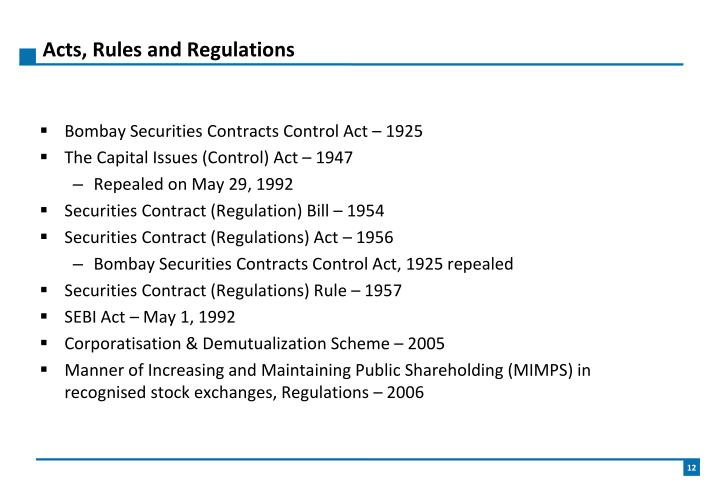 Acts, Rules and Regulations