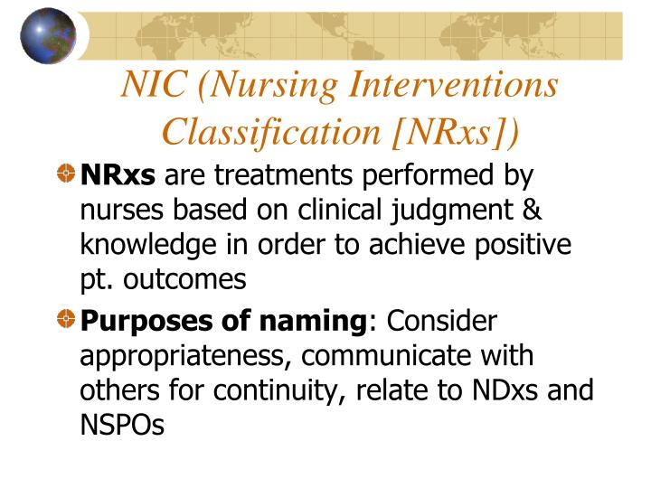 NIC (Nursing Interventions Classification [NRxs])