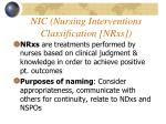 nic nursing interventions classification nrxs