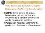 noc nursing sensitive patient outcomes nspos classification