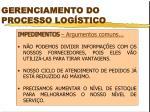 gerenciamento do processo log stico
